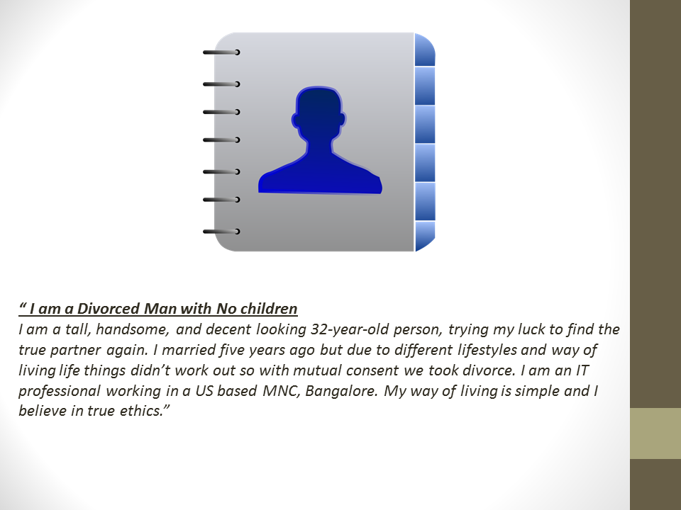 Matrimonial Profile Sample For a divorced man with no children | Vivahsanyog.com