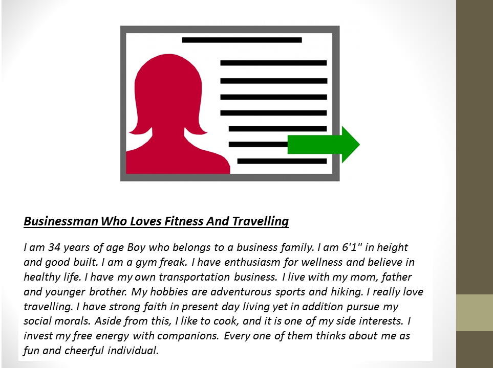 Matrimony Profile Sample For A Businessman Who Loves Travelling & Fitness
